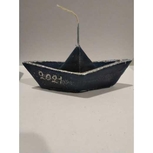 Βαρκουλα κερινη  γουρι επιπλεει στο νερο αρωματικη ζωγραφιστη 15χ7    ασημι   με μπλε